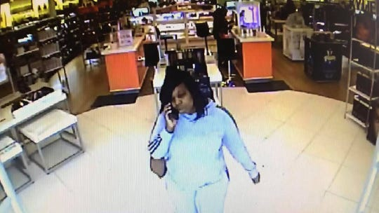 One of the female suspects is seen on surveillance at Ulta in Bossier.