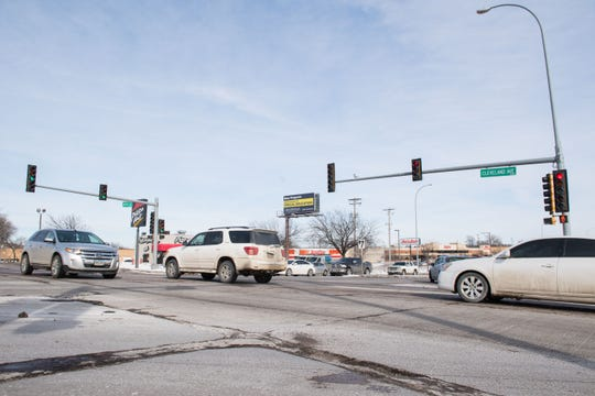 10th Street and Cleveland Avenue intersection is shown, Friday, Feb. 15, 2019 in Sioux Falls, S.D.