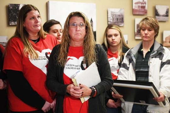 Susie Stonehouse speaks at the Lincoln County Courthouse Friday, Feb. 15, after Dylan Holler was sentenced in Canton. Holler was sentenced to 80 years in the penitentiary, with 40 suspended, for the shooting death of Susie Stonehouse's son 17-year-old Riley Stonehouse in August 2017.