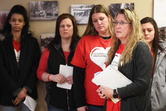 Susie Stonehouse, Riley Stonehouse's mom, speaks at the Lincoln County Courthouse Friday, Feb. 15, after Dylan Holler was sentenced in Canton. Holler was sentenced to 80 years in the penitentiary, with 40 suspended, for the shooting death of Susie Stonehouse's son 17-year-old Riley Stonehouse in August 2017.