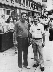 Joe and Sam Alick in front of their store in 1978