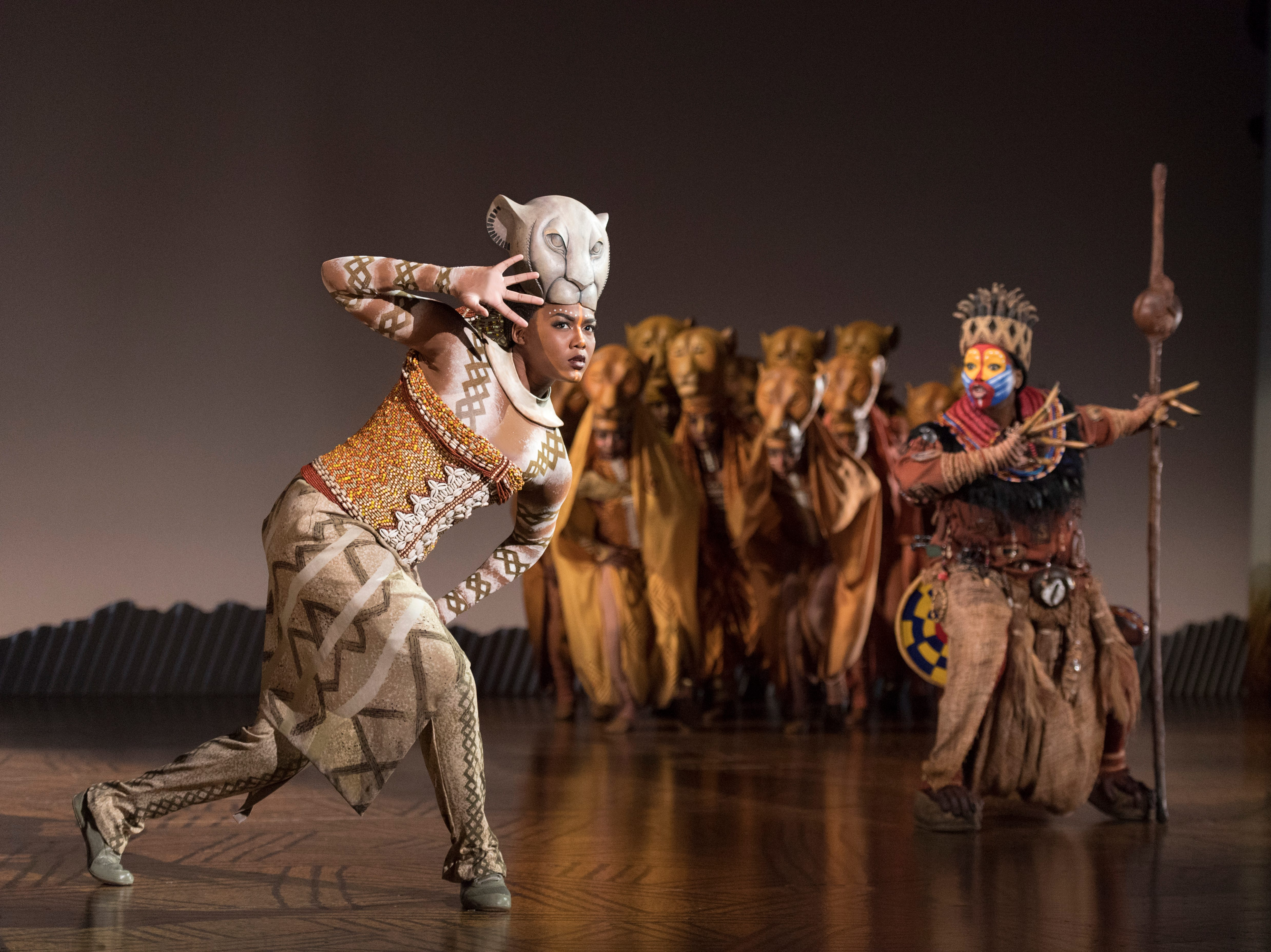 "Nia Holloway as Nala, Buyi Zama as Rafiki and the Lionesses in ""The Lion King"" North American Tour."