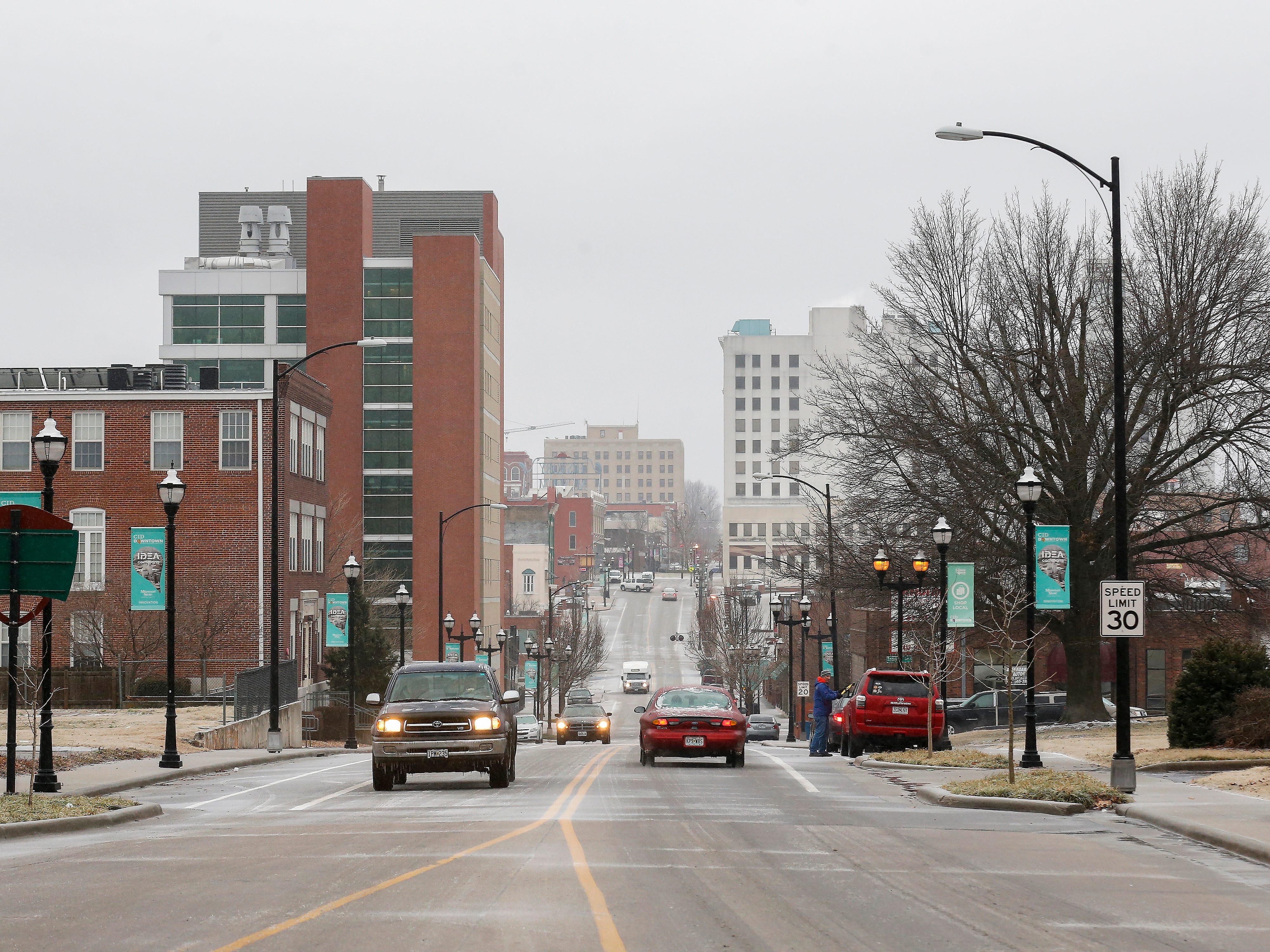 A view down Boonville Avenue toward Park Central Square on Friday, Feb. 15, 2019. Temperatures were in the upper 20s on Friday.