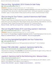 """This is what comes up when you Google """"Lion King"""" and """"Juanita K. Hammons Hall."""""""