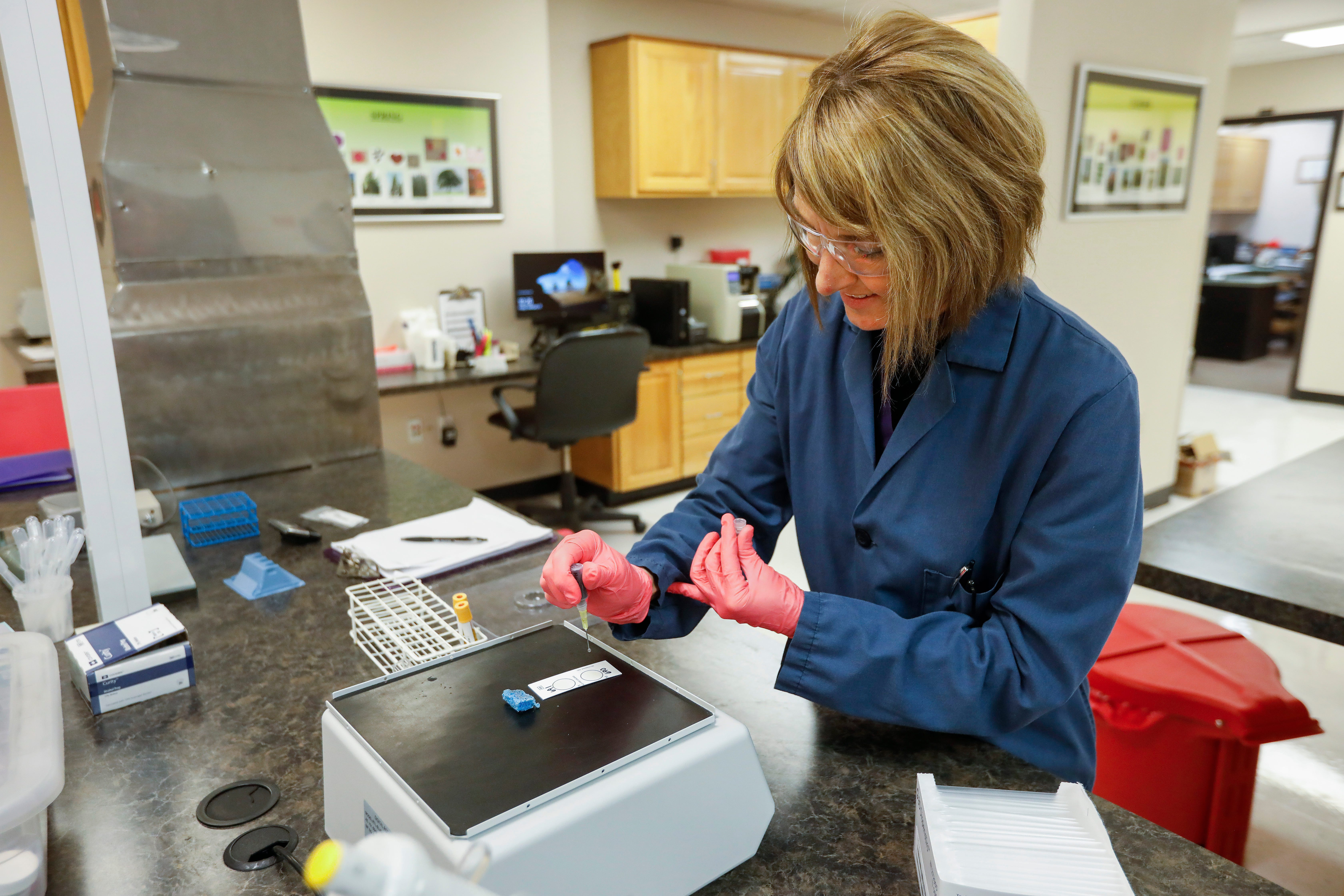 Machelle Petit, the senior lab scientist at the Springfield-Greene County Health Department, runs a test for syphilis on Friday, Feb. 15, 2019.