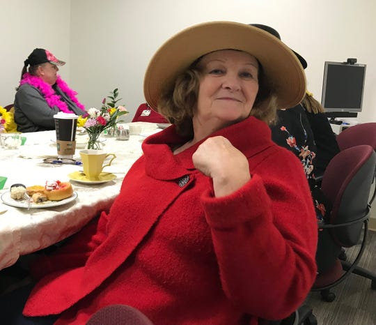"Kay McDonagh, of Staunton, enjoys afternoon tea at Augusta Health's Stronger Together breast cancer support group in Fishersville on Thursday, February 14, 2019 for Valentine's Day. Diagnosed with breast cancer in 2015 during a routine mammogram, they removed the tumor and she received radiation treatment. ""They managed to catch it in time,"" she says."