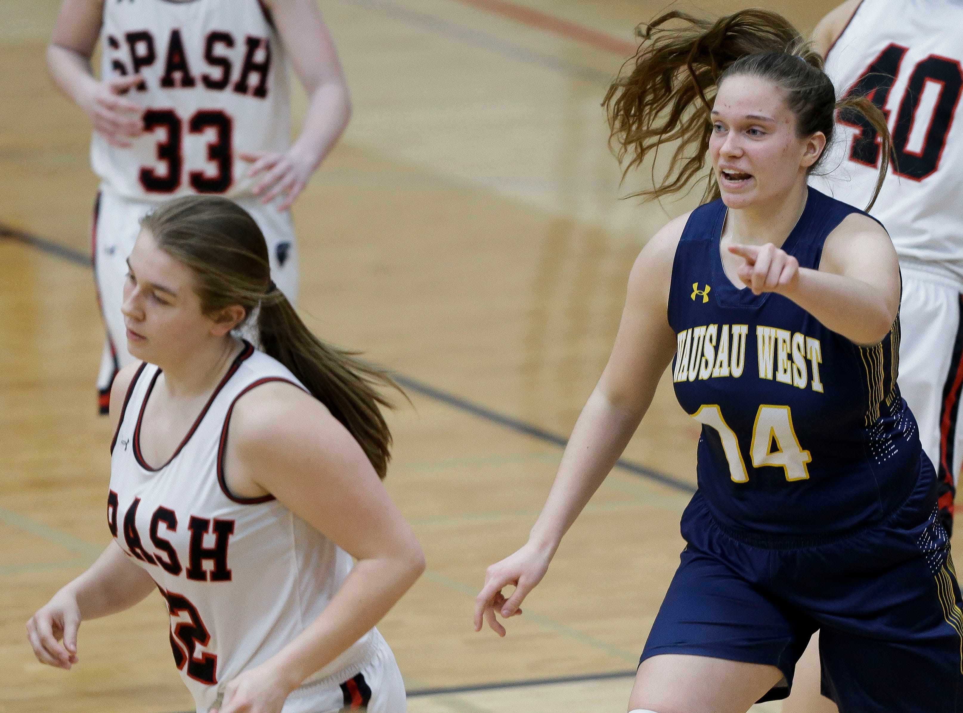 Wausau West's Anna Cunningham (14) reacts after a made basket against SPASH on Thursday, February 14, 2019, at SPASH in Stevens Point, Wis.Tork Mason/USA TODAY NETWORK-Wisconsin