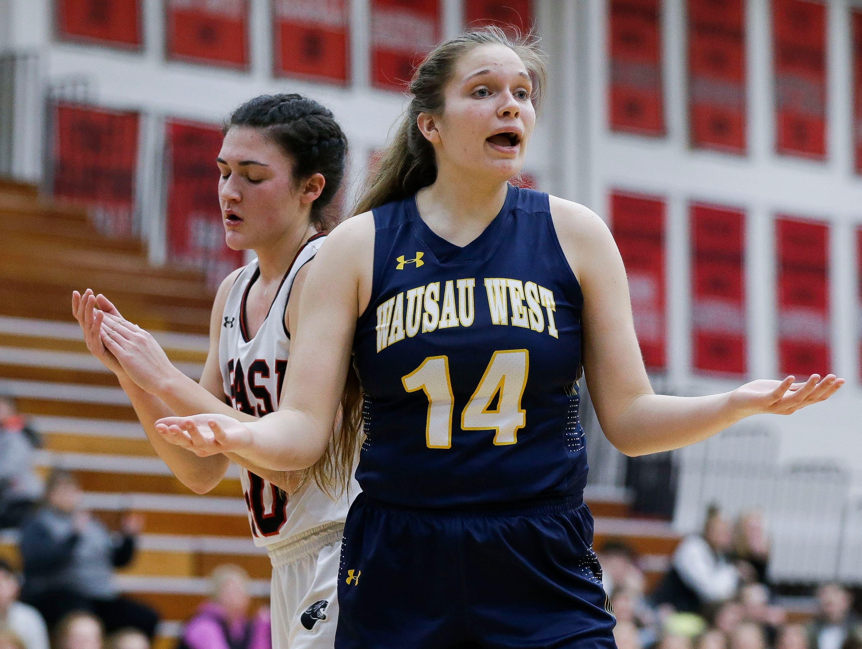 Wausau West's Anna Cunningham (14) reacts after being called for a foul against SPASH on Thursday, February 14, 2019, at SPASH in Stevens Point, Wis.Tork Mason/USA TODAY NETWORK-Wisconsin