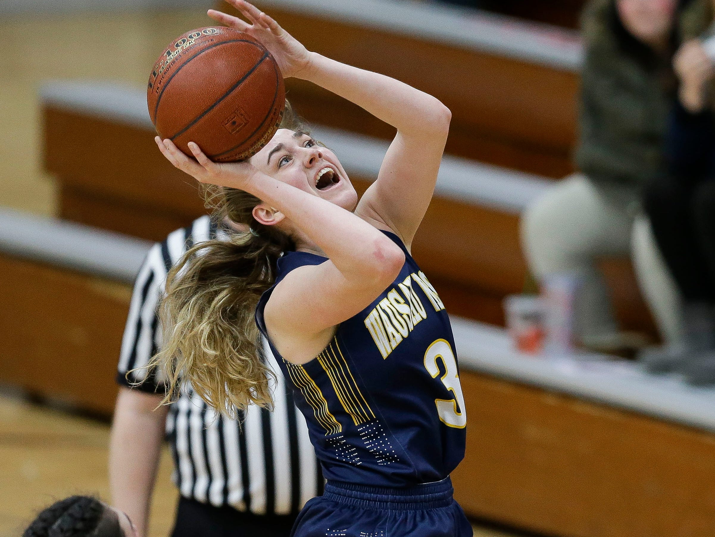 Wausau West's Kadie Deaton (3) goes up for a layup against SPASH on Thursday, February 14, 2019, at SPASH in Stevens Point, Wis.Tork Mason/USA TODAY NETWORK-Wisconsin