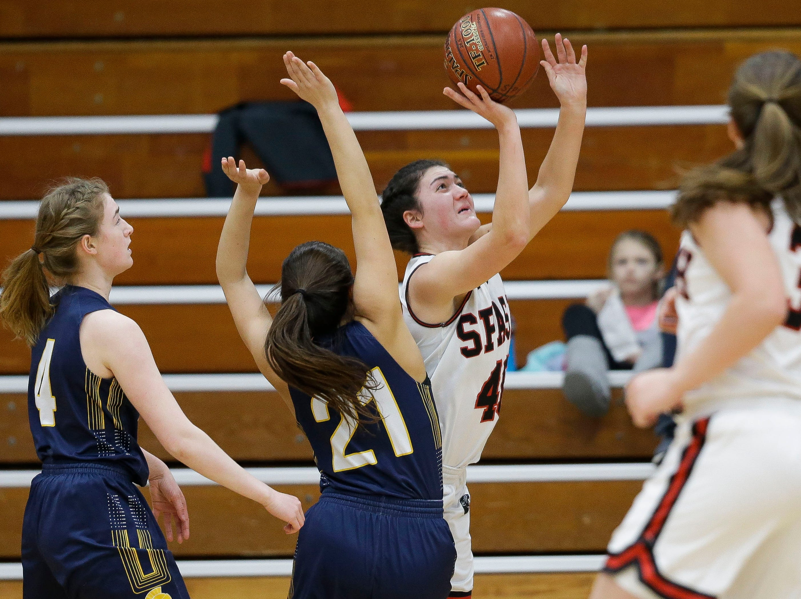 SPASH's Leah Earnest (40) puts up a shot against Wausau West on Thursday, February 14, 2019, at SPASH in Stevens Point, Wis.Tork Mason/USA TODAY NETWORK-Wisconsin