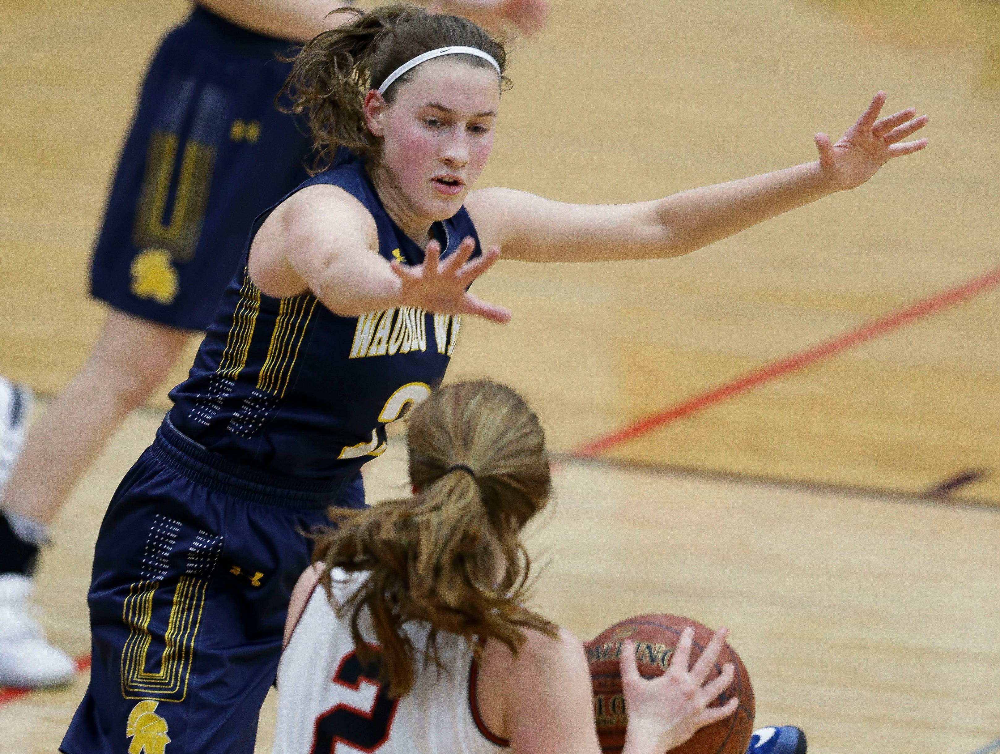 Wausau West's Kadie Deaton (3) defends against SPASH on Thursday, February 14, 2019, at SPASH in Stevens Point, Wis.Tork Mason/USA TODAY NETWORK-Wisconsin