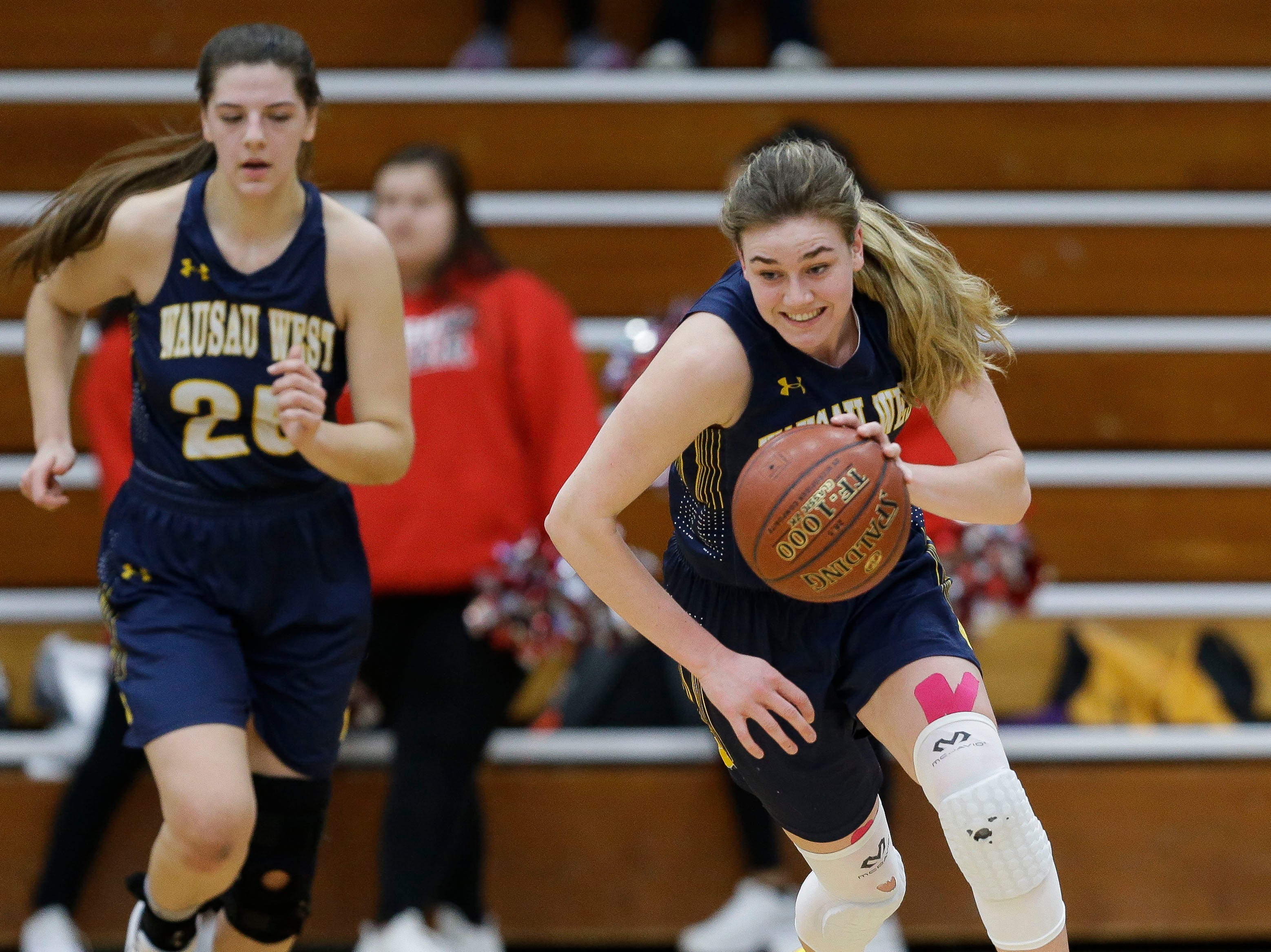 Wausau West's Kadie Deaton (3) leads a fast break against SPASH on Thursday, February 14, 2019, at SPASH in Stevens Point, Wis.Tork Mason/USA TODAY NETWORK-Wisconsin