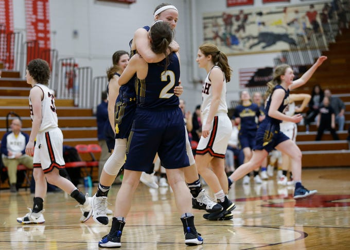 Wausau West's Maddie Schires (23) and Wausau West's Malena Tonelli (2) celebrate after an 86-78 overtime victory against SPASH on Thursday, February 14, 2019, at SPASH in Stevens Point, Wis.Tork Mason/USA TODAY NETWORK-Wisconsin