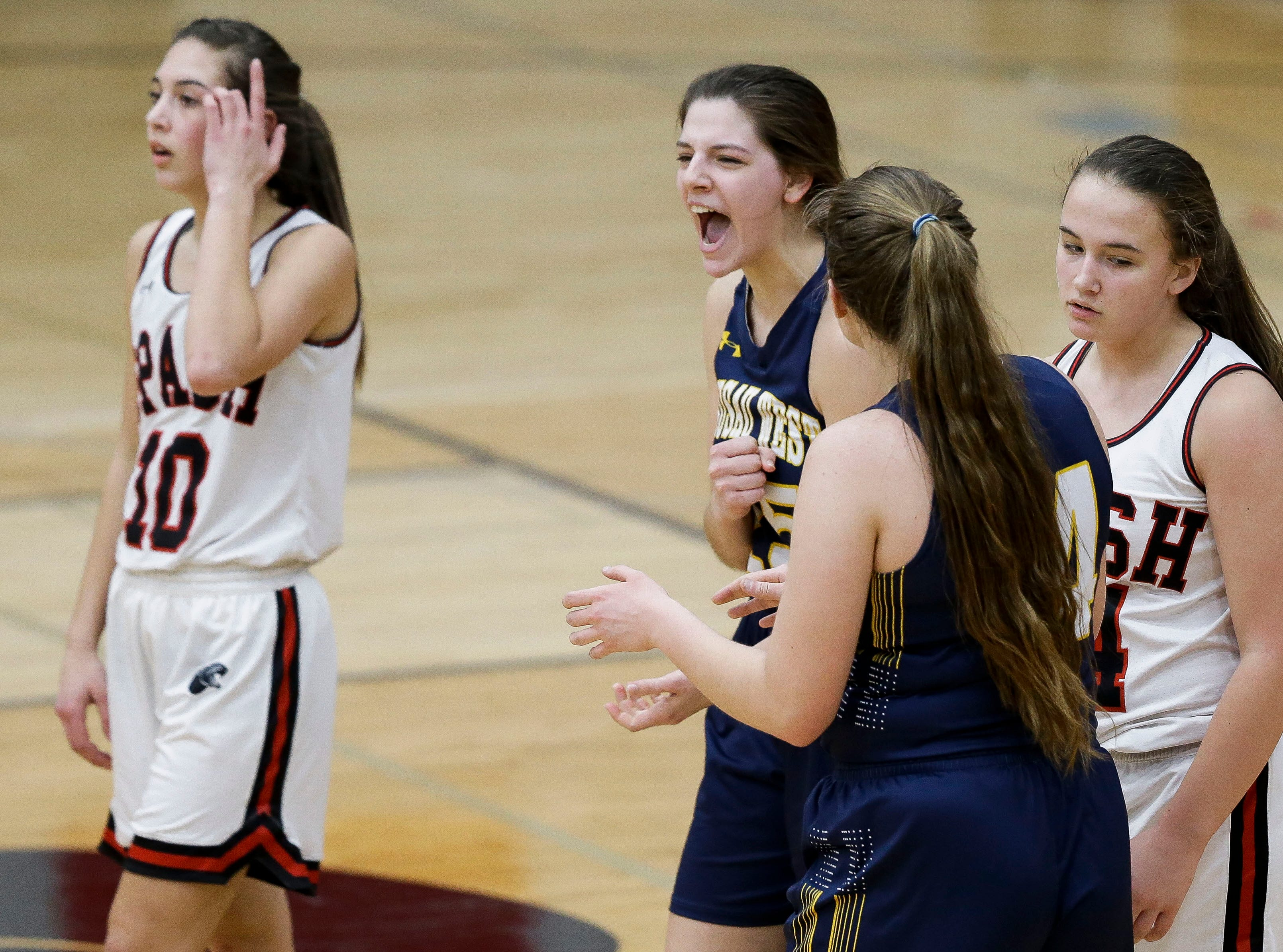 Wausau West's Tess Hauer (25) reacts after being fouled on a made basket against SPASH on Thursday, February 14, 2019, at SPASH in Stevens Point, Wis.Tork Mason/USA TODAY NETWORK-Wisconsin