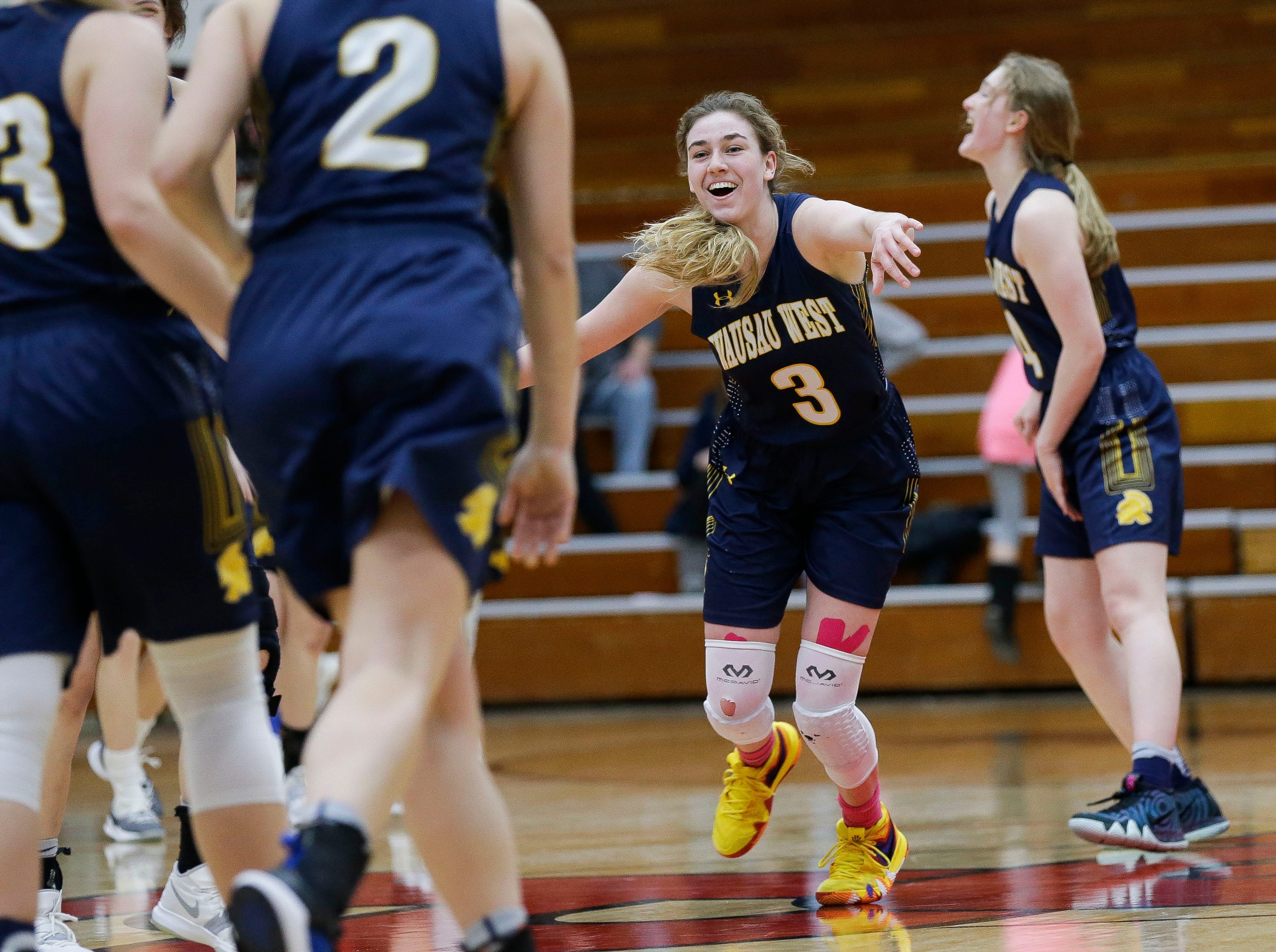Wausau West's Kadie Deaton (3) celebrates after an 86-78 overtime victory against SPASH on Thursday, February 14, 2019, at SPASH in Stevens Point, Wis.Tork Mason/USA TODAY NETWORK-Wisconsin