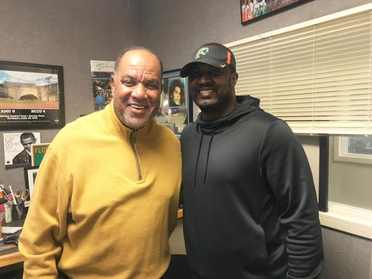 Radio host Joe Bullard (left) welcomed FAMU football coach Willie Simmons to his show on Friday, Feb. 15, 2019. Simmons read the newly-released football schedule live on the air.
