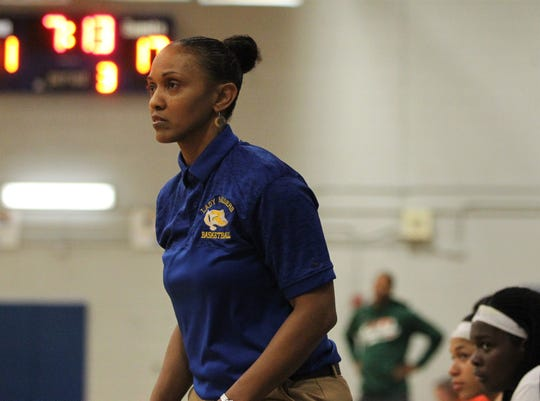 Rickards girls basketball coach Chariya Davis watches as the Raiders beat Mosley 61-27 in a Region 1-6A quarterfinal on Feb. 14, 2019.