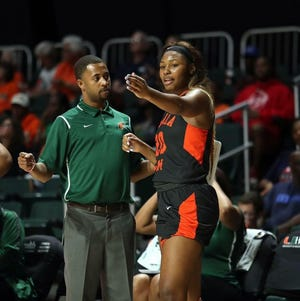 Kevin Lynum now serves as FAMU's interim women's basketball coach for the remainder of the regular season and MEAC tournament. He discusses plays with Chiqueria Cook against Miami in December.