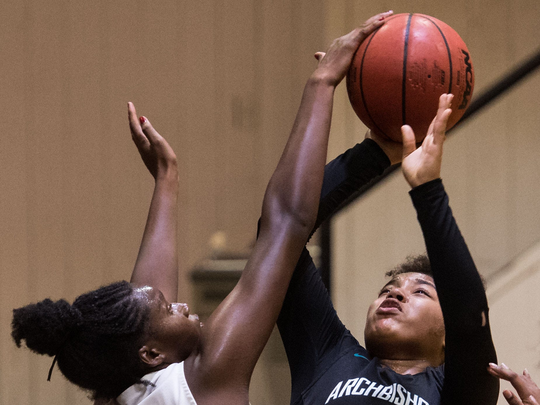 Lincoln Park Academy's Deborah Reese (left) blocks Archbishop McCarthy (Fort Lauderdale) player Mia Avin's shot during the third period of the high school girls basketball regional quarterfinal game Thursday, Feb. 14, 2019, Lincoln Park Academy in Fort Pierce.