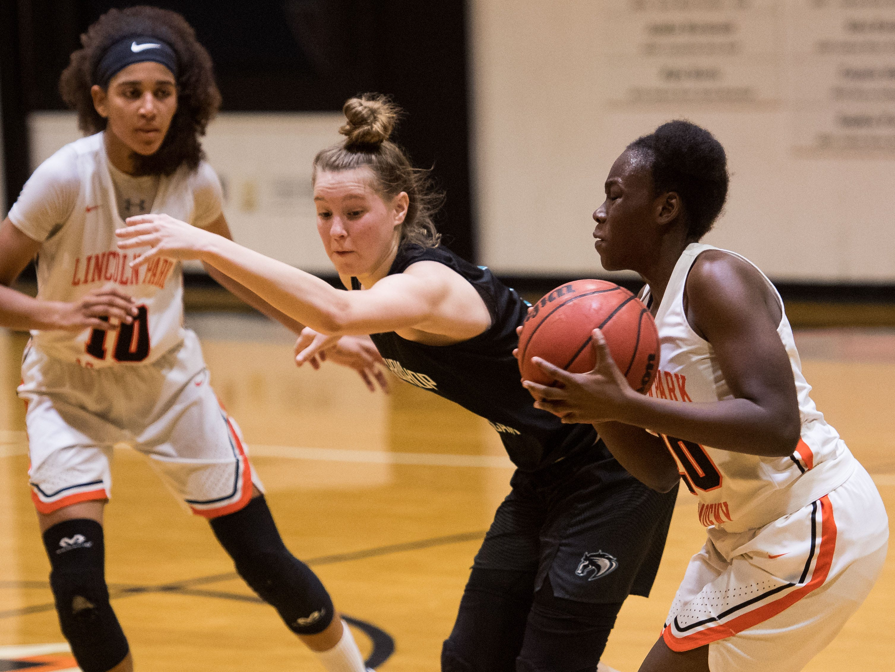 Lincoln Park Academy plays against Archbishop McCarthy (Fort Lauderdale) during the high school girls basketball regional quarterfinal game Thursday, Feb. 14, 2019, Lincoln Park Academy in Fort Pierce.