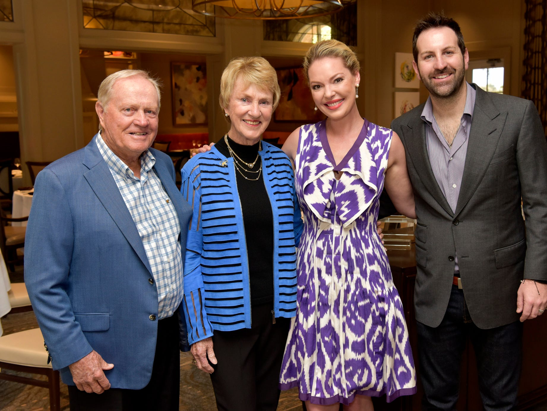 Jack and Barbara Nicklaus, left, with Katherine Heigl and Josh Kelley at the Golden Heart Luncheon in Palm Beach Gardens.