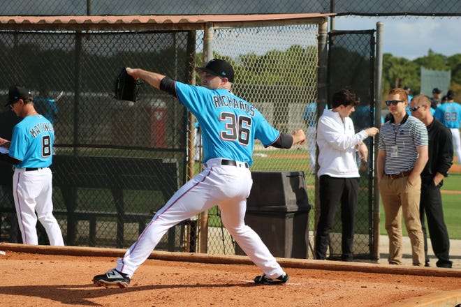 Marlins pitcher Trevor Richards showed signs of promise last season, and hopes to improve on that this year. Richards reported Feb. 13 to Roger Dean Chevrolet Stadium for the start of Spring Training.