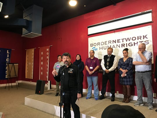 Fernando Garcia, founder of the Border Network for Human Rights, announces Friday, Feb. 15, 2019, a lawsuit over President Donald Trump's national emergency declaration.