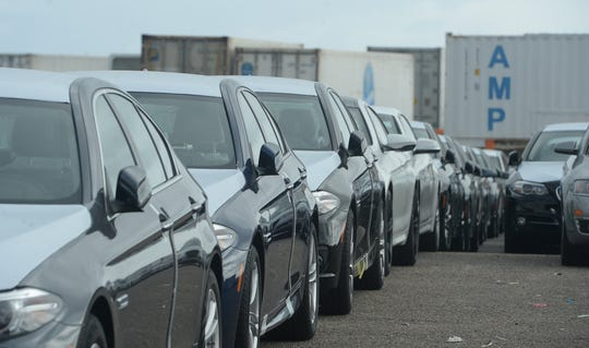 Cars are seen being unloaded at the Port of Hueneme in this 2015 file photo.