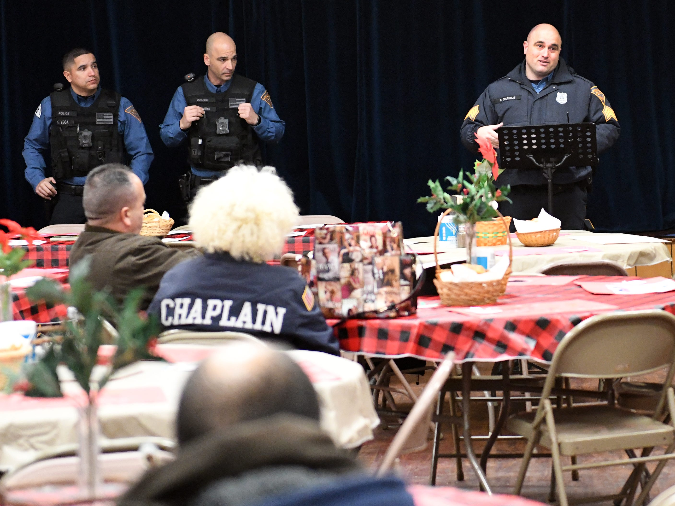 Vineland Police Sgt. Nick Dounoulis speaks about pedestrian safety following a memorial service for Jeffrey Cuss, who was fatally struck by a car along Landis Avenue. The service was held at the Spirit & Truth Ministries Soup Kitchen in Vineland on Thursday, Feb. 14, 2019.