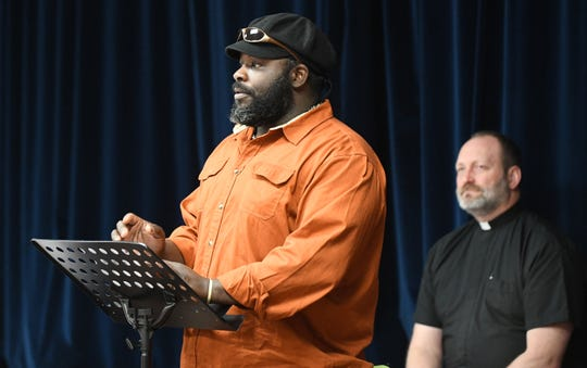 Spirit & Truth Ministries Soup Kitchen volunteer, Stephen W. Jones, 45, of Cumberland County, speaks at a memorial service held for Jeffrey Cuss, who was fatally struck by a car along Landis Avenue.