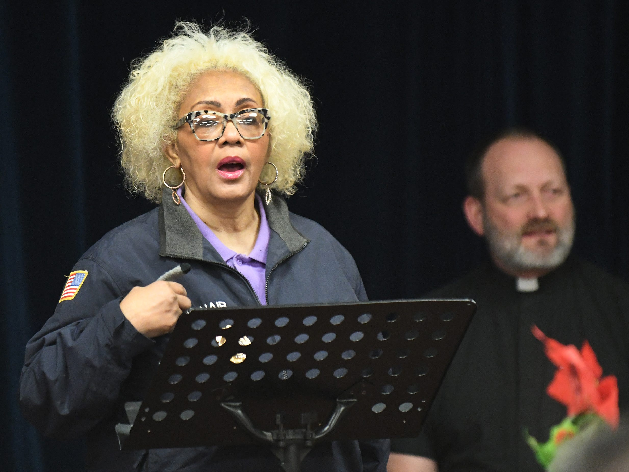 Vineland Police Chaplain Gilda I. McNair speaks during a memorial service for Jeffrey Cuss at the Spirit & Truth Ministries Soup Kitchen in Vineland on Thursday, Feb. 14, 2019.