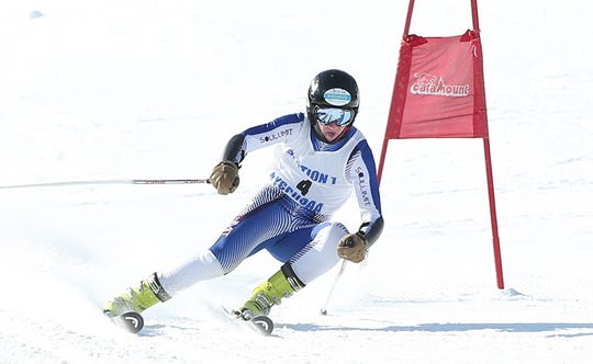 North Salem/John Jay's Luke Devey competes in the Section 1 ski championships at Catamount Mountain in Hillsdale, N.Y. Feb. 14,  2019. Devey won the boys Skimeister.
