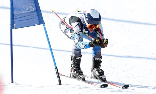 Mamaroneck's Cole Lovejoy competes in the Section 1 ski championships at Catamount Mountain in Hillsdale, N.Y. Feb. 14,  2019.