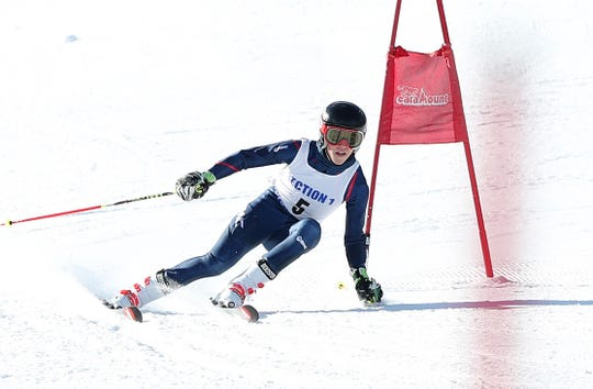Mamaroneck's Robert Lundberg competes in the Section 1 ski championships at Catamount Mountain in Hillsdale, N.Y. Feb. 14,  2019.