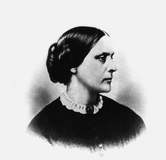 This is an undated sketch drawing of suffragette Susan B. Anthony.  Anthony, who was active in the anti-slavery movements, became a leader in women's rights in 1854 and co-founded the National American Woman Suffrage Association in 1869.  She died in 1906. (AP Photo)