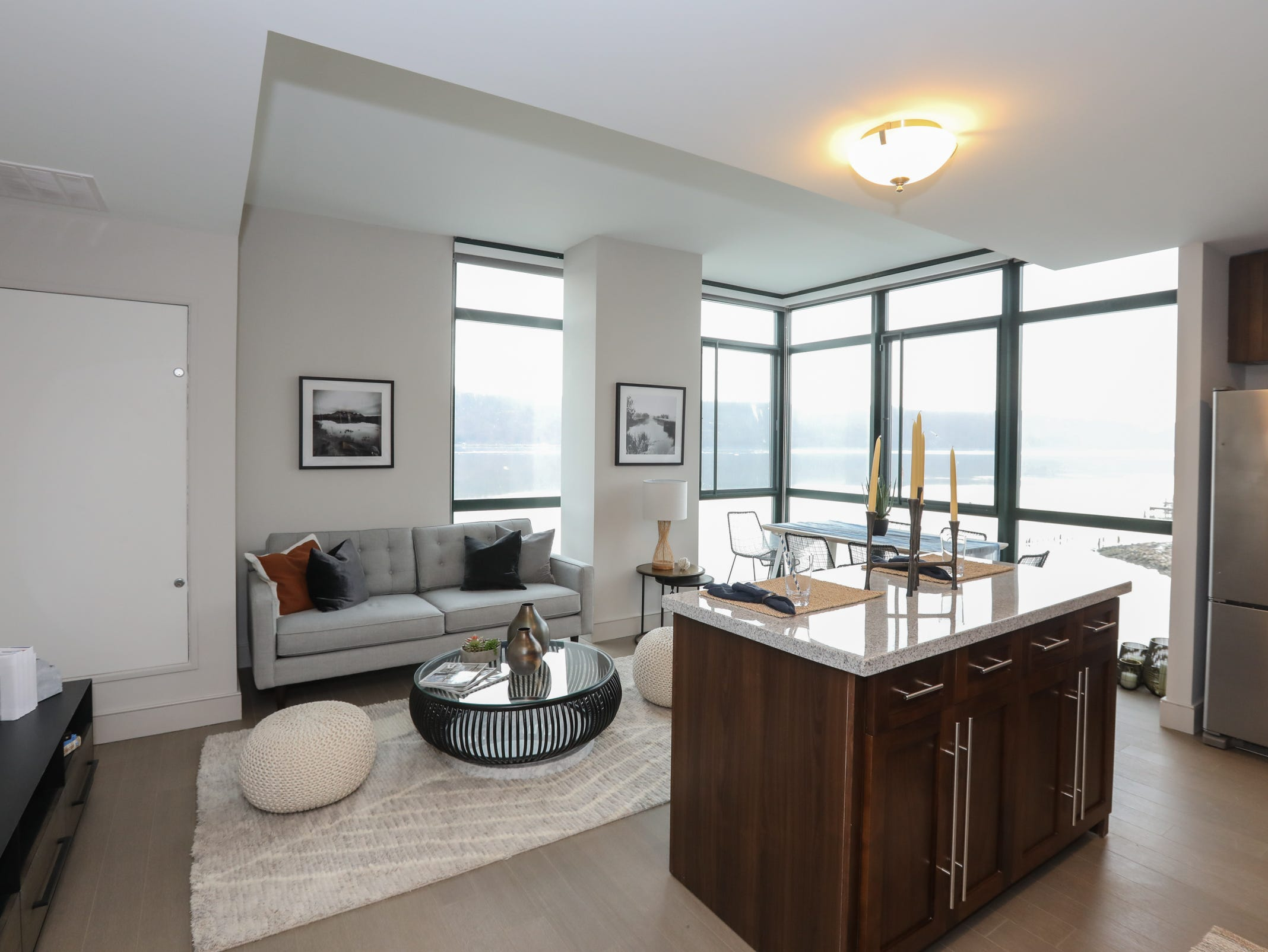 The kitchen and living room of a two bedroom apartment at The River Club at Hudson Park in Yonkers on Friday, February 15, 2019.