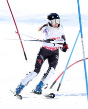 Horace Greeley's Samantha Burton competes in the Section 1 ski championships at Catamount Mountain in Hillsdale, N.Y. Feb. 14,  2019.