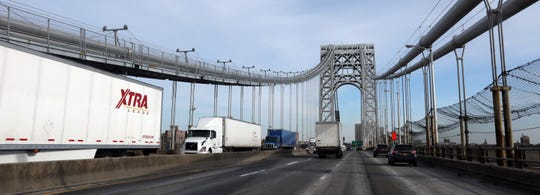 Cars and trucks cross the George Washington Bridge Feb. 14, 2019.