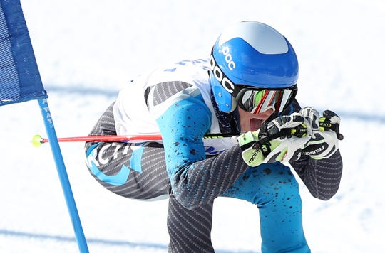 Nyack's Max Longhi competes in the Section 1 ski championships at Catamount Mountain in Hillsdale, N.Y. Feb. 14,  2019.