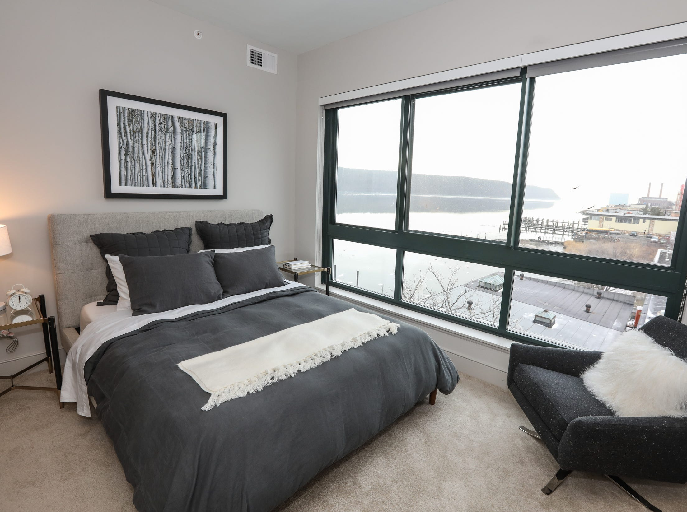 The master bedroom in a 2 bedroom apartment at The River Club at Hudson Park in Yonkers on Friday, February 15, 2019.