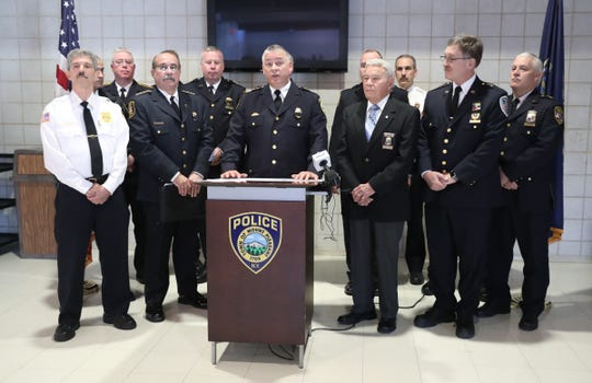 Mount Pleasant Police Chief Paul Oliva, center, and the Westchester County Chiefs of Police Assoc. hold a press conference at the Town of Mount Pleasant Community Center in Valhalla on Friday, February 15, 2019, voicing their opposition to the legalization of recreational marijuana.
