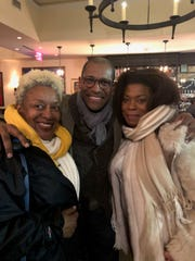 """Alvin Clayton, center, owner of Alvin & Friends in New Rochelle with CCH Pounder, on left, from NCIS New Orleans and Lorraine Toussaint of """"Orange is the New Black."""""""