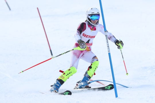 Scarsdale's Connie Ferragu competes in the girls Section 1 skiing championships at Catamount Mountain in Hillsdale, N.Y. Feb. 14,  2019.