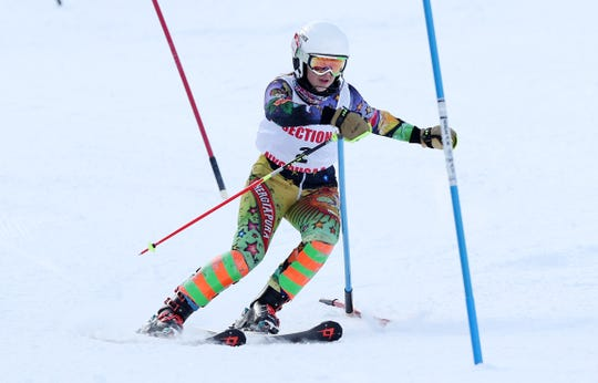 North Salem/John Jay's Ashley Binette competes in the Section 1 ski championships at Catamount Mountain in Hillsdale, N.Y. Feb. 14,  2019. Binette won the girls Skimeister.