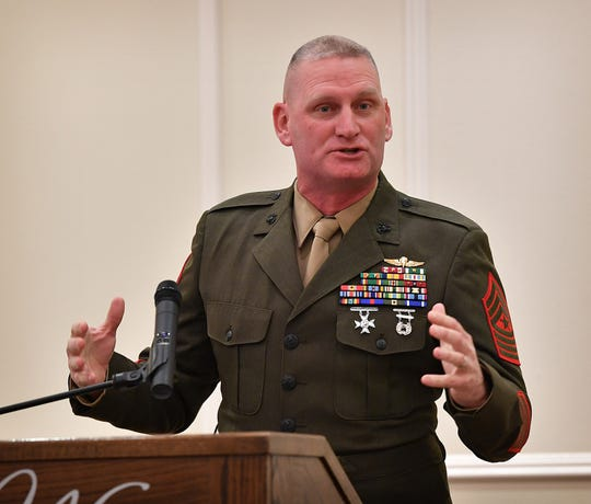 Sgt. Maj. James Moran of Fort Sill speaks Friday morning during the opening ceremony of the Iwo Jima and World War II Veterans Reunion at The Wellington.