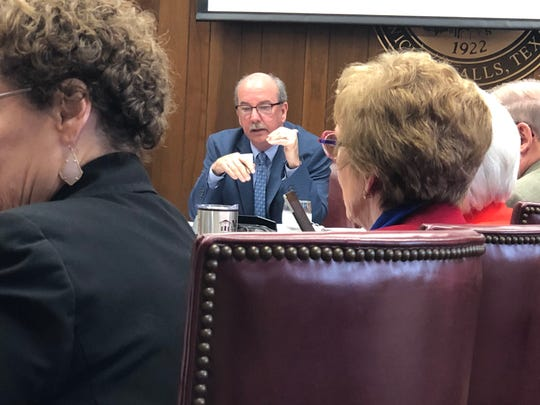 Fred Dietz, vice president of enrollment management at Midwestern State University, discusses Thursday the new dual credit program for high school students. Through the program, students can earn both high school and college credits at the same time.