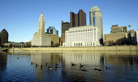 Downtown Columbus, Ohio, as seen from across the Scioto River. Six employees of a nursing home in Columbus have been charged after the death of one patient and the neglect of another in Columbus this week.