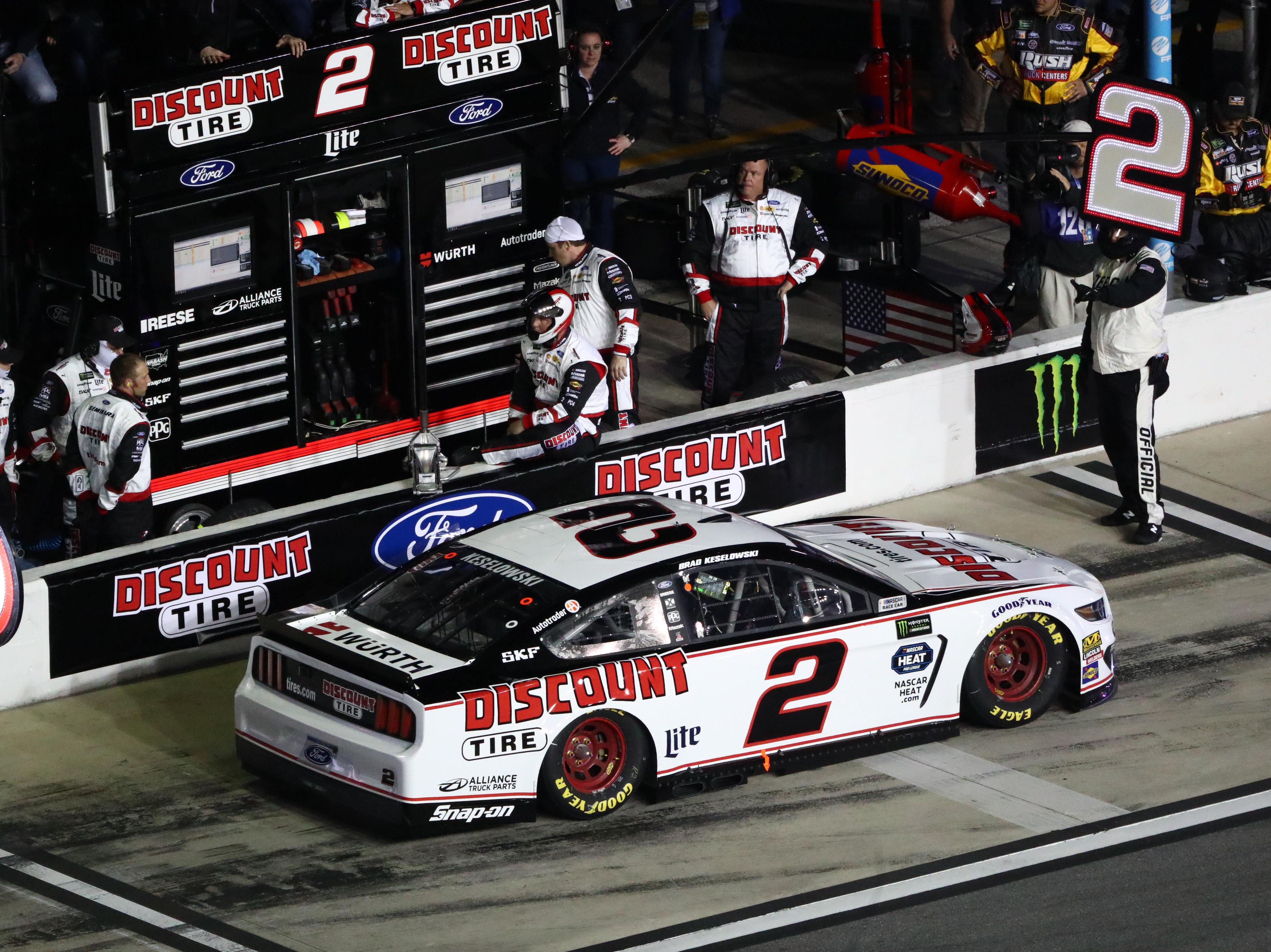 Feb 14: Brad Keselowski (2) receives a one-lap penalty for pitting outside the box during the Gander RV Duel 1. He received a second penalty for speeding on pit road.