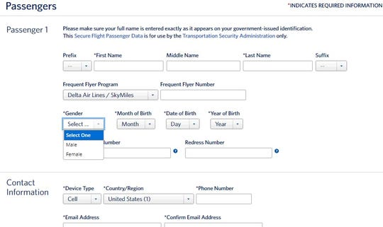 This screenshot shows the current booking options on Delta's website.