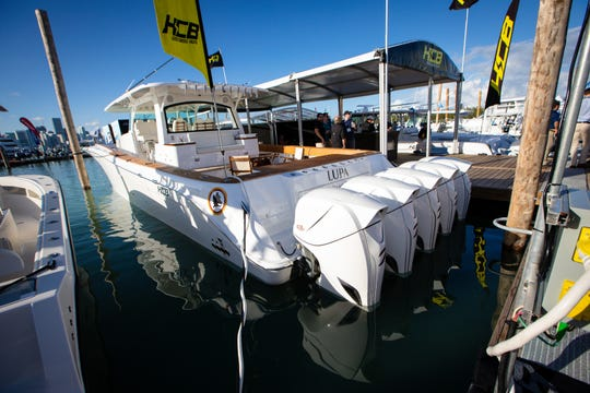 HCB Yachts 6500 Estrella is the Largest Center Console located on Pier 3 at the 2019 Progressive Insurance Miam International Boat Show presented by West Marine -1